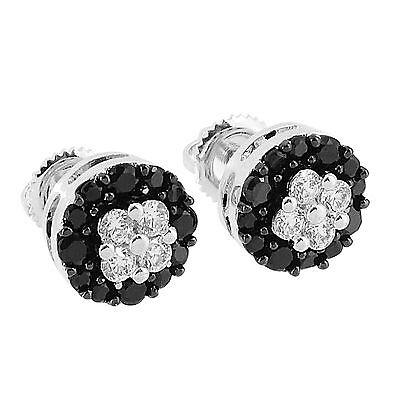 Black & White Flower Design Earrings Lab Diamonds 14K White Gold Finish -