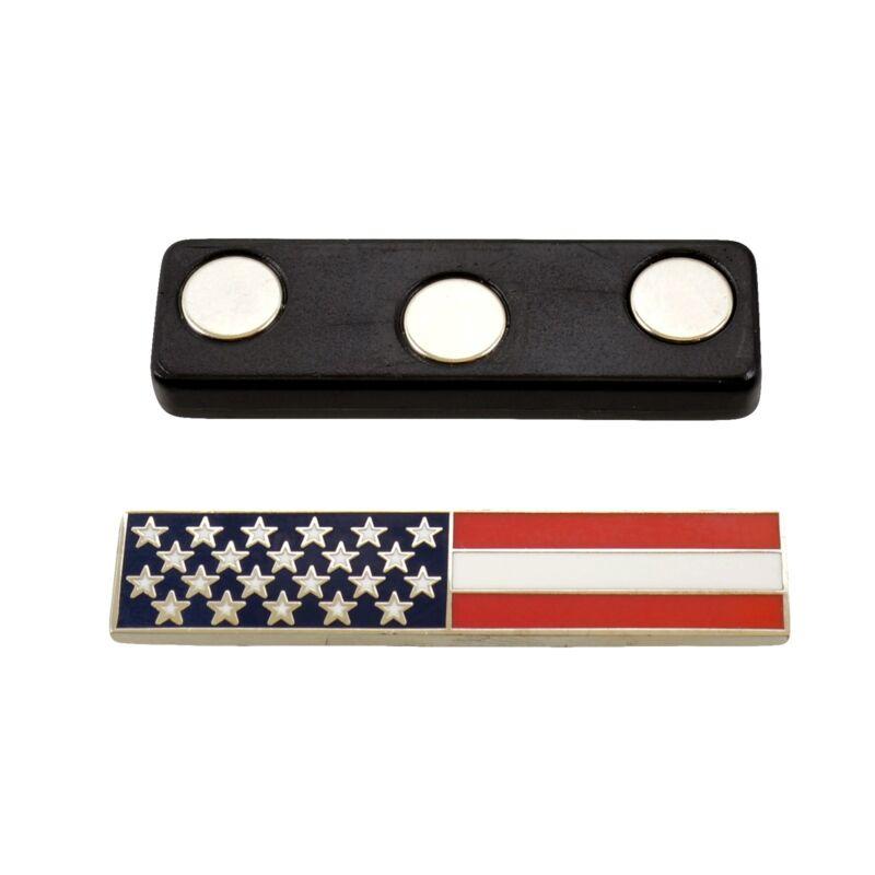 Magnetic US American Flag Police Citation Bar Pin Nickel Uniform Award Merit