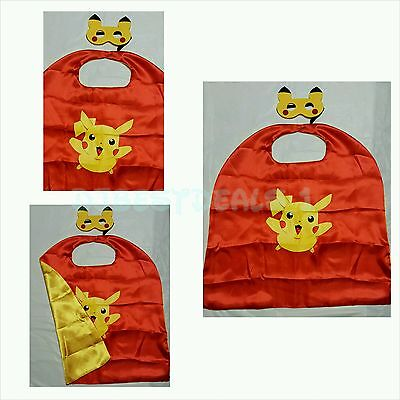 Halloween Idea For Kids (Pokemon PIKACHU Cape and mask for kids birthday party Halloween favors and)