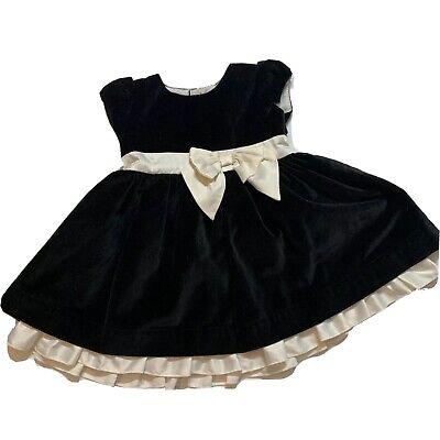 Carters Black Velvet Dress with White Accent Ribbon Sz 3T EUC