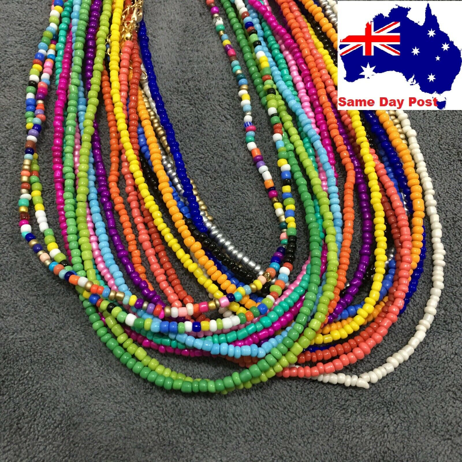 Jewellery - Beaded Seed Bead Gold Strand Necklace Women String Short Necklace Jewellery