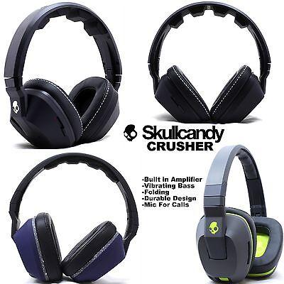 New Skullcandy Crusher Stereo Headset Supreme Sound Mic  Amp Bass Black White