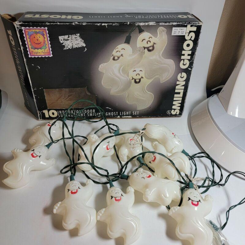 Vintage Halloween Blow Mold String Lights ghosts Set of 10 Pumpkin Hollow w/box