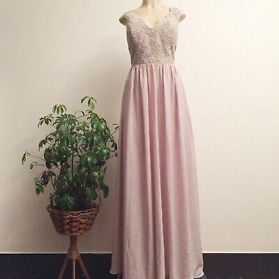 Cocomelody Formal Lace Bodice Chiffon Skirt Bridesmaid Formal Prom Dress Size 14 Bodice Chiffon Skirt