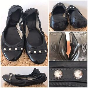 Authentic black patent leather TODS ballet  flats shoes size 6 36.5 Cronulla Sutherland Area Preview