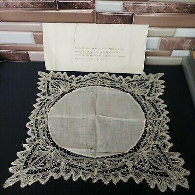 "Antique Battenburg Lace Handmade Handkerchief 1890s 12""x11"""