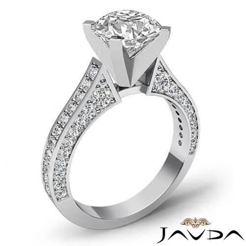 2ct Natural Round Cut Pave Set Diamond Engagement Ring GIA F SI1 14k White Gold 1