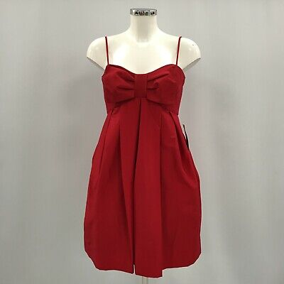 NEW JILL STUART Red Bow Front Netted Strapless Cocktail Dress Size UK 8 100856