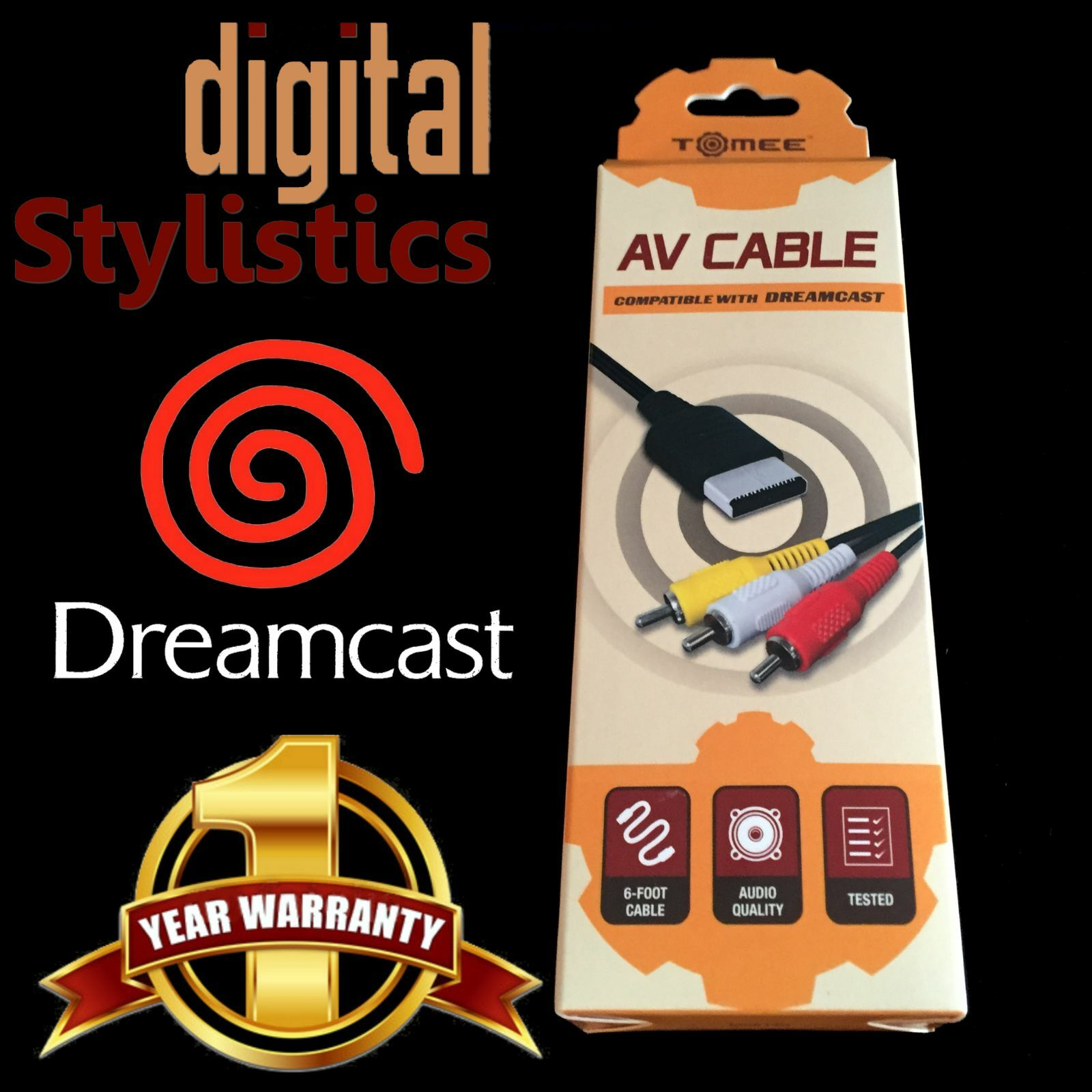 Купить Tomee DSI-M05140 - A/V Cable Cord (NEW) Sega Dreamcast (AV Audio Video) NIB Sealed Retail Packaging