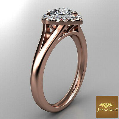 Halo French Pave Set Heart Diamond Engagement Split Shank Ring GIA G VS1 0.70 Ct 10