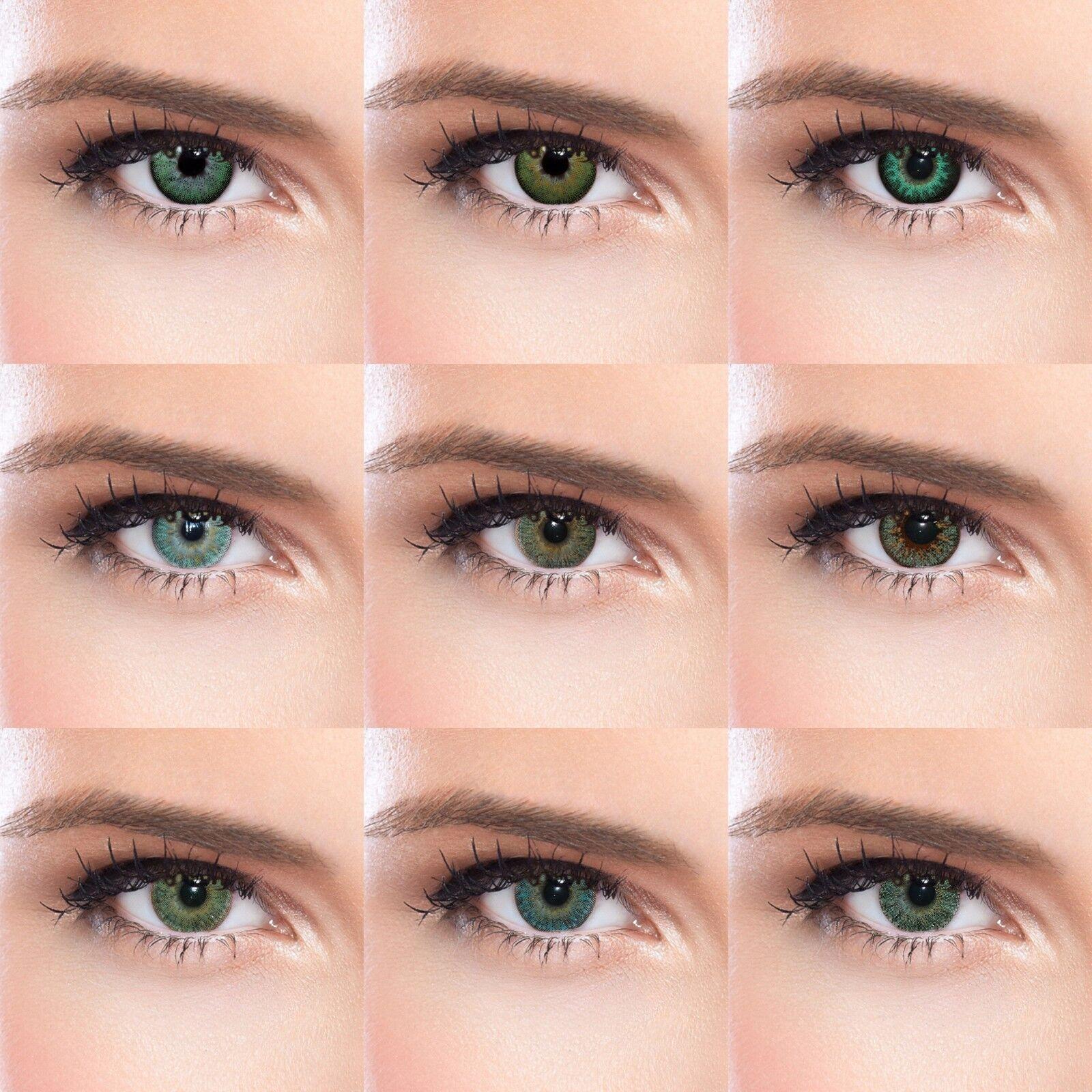 Grüne farbige Kontaktlinsen mit oder ohne Stärke grüne Funlinsen 13 Modelle