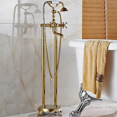 Golden Floor Mounted Free Standing Bathtub Faucet Tub Filler Hand Shower Sprayer