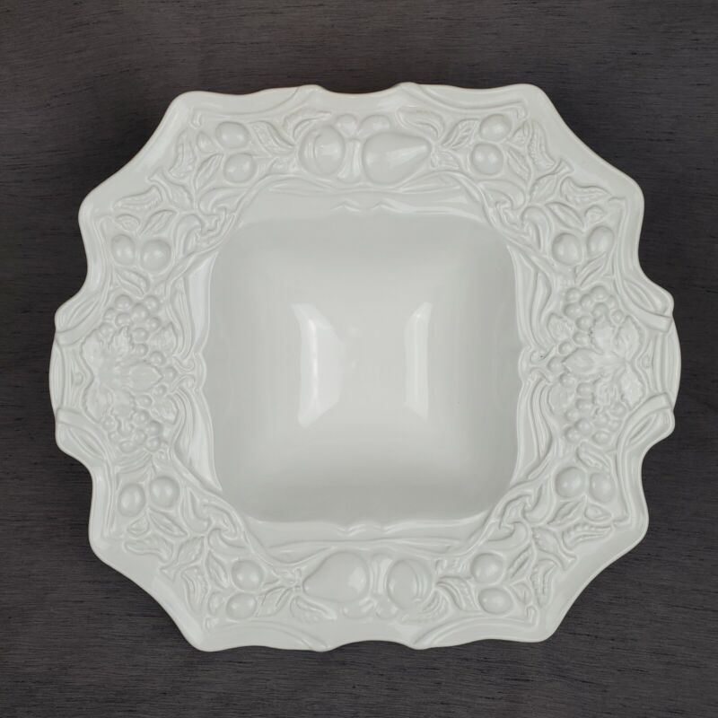 Portugal Stoneware 3D Fruit White Glazed Scalloped Square Ruffle Serving Bowl