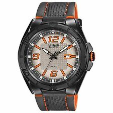 Citizen Eco-Drive Men's AW1385-03H BRT Orange Accents Black Leather Strap Watch
