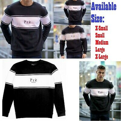 ✅ Mens PRE LONDON Sweatshirt Jumper ✅ Black White Panelled Top XS S M L XL NEW✅