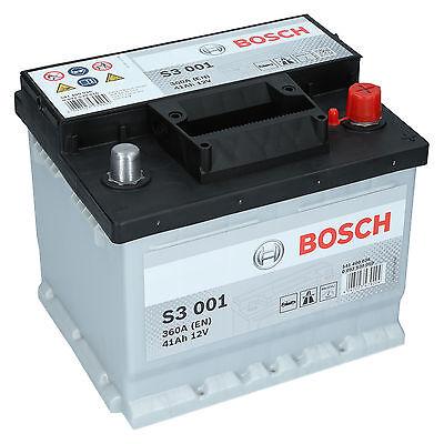 BOSCH S3 001  41Ah 12V 360A Autobatterie Starterbatterie sofort Einsatzbereit