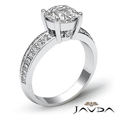 Micro Pave Bezel Setting Round Cut Diamond Engagement Ring GIA H Color SI1 1.3Ct 1