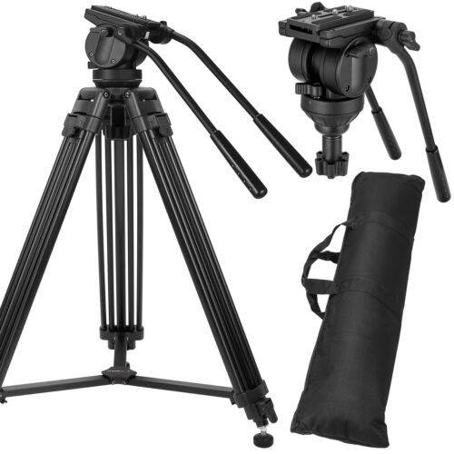 Professional Heavy-duty Tripod Video Camera with Fluid Head Kit for DSLR Camera