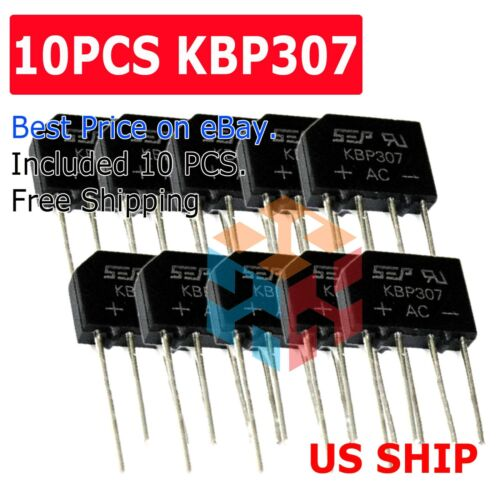 10PCS Bridge Rectifier KBP307 Full Wave 700Volts 3Amp Three Flat Rectifiers N240