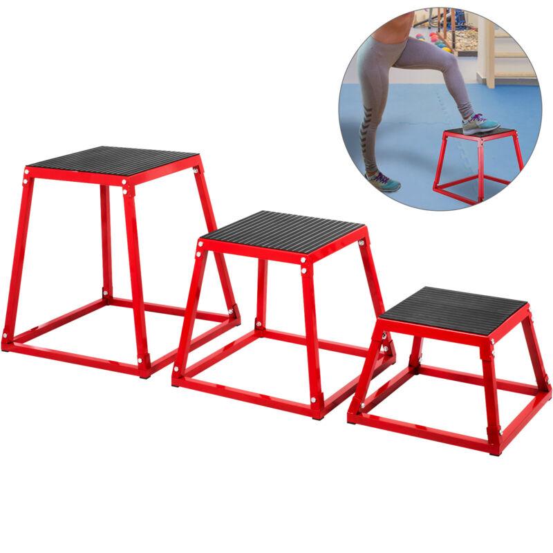 "3PCS Plyometric Jump Box Sets 12"" 18"" 24"" Plyo Cross Exercise Athletes Training"