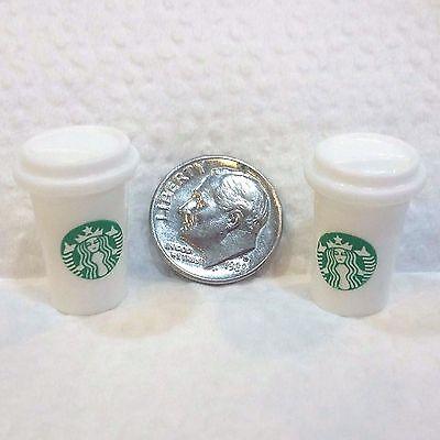 Barbie Dollhouse Miniature STARBUCKS COFFEE 2 CUP lot Kitchen/Food Accessories