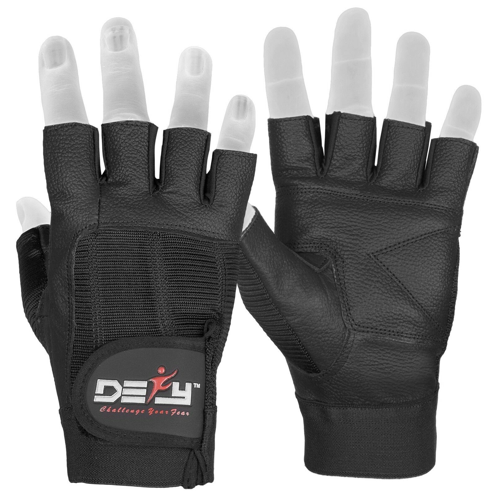 DEFY Real Leather Spandex Padded Gym Gloves Fitness Weightli
