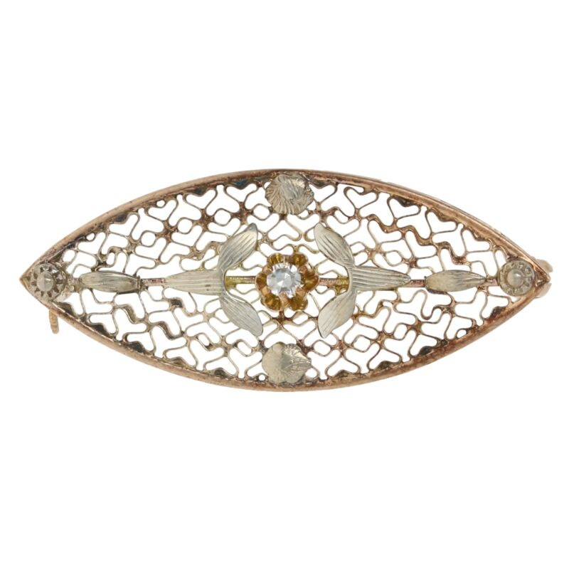 Single Cut Diamond-Accented Vintage Brooch - 10k Yellow Gold Flower Pin