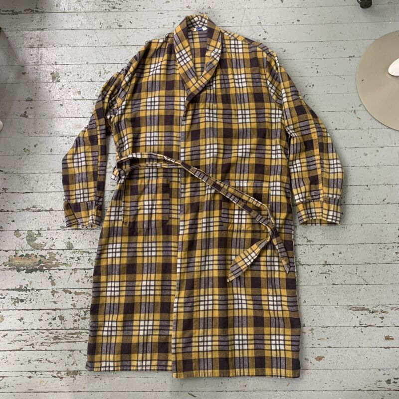 Vintage 1960s Cotton Yellow And Gray Plaid House Robe Mens X-Large