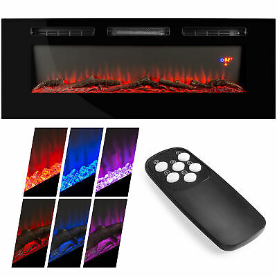 BCP 1500W Electric Fireplace Recessed and Wall Mounted w/ Remote, Logs,