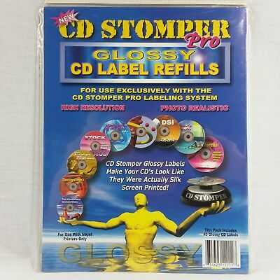 Cd Stomper Pro Glossy Cd Label Refills Pack Of 20 Sheets Professional Look