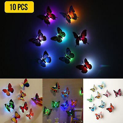 10X Color Changing 3D Butterfly LED Night Light Home Kids Room Wall Decor - Purple Room Decor