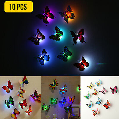 Home Decoration - 10X Color Changing 3D Butterfly LED Night Light Home Kids Room Wall Decor DIY