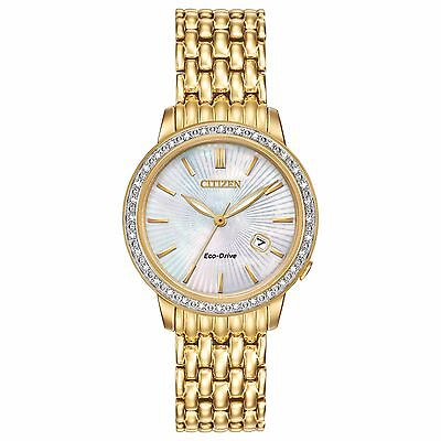 Citizen Eco-Drive Women's Diamond Accents Gold-Tone 29mm Dress Watch EW2282-52D