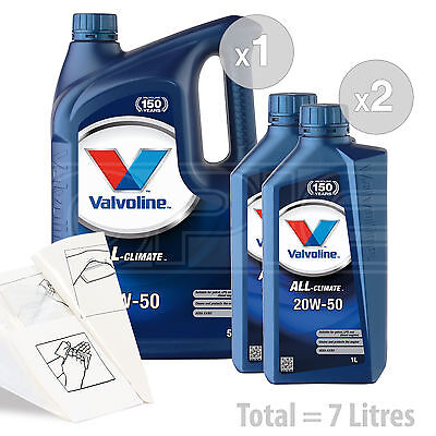 Car Engine Oil Service Kit  Pack 7 LITRES Valvoline All Climate 20w 50 7L