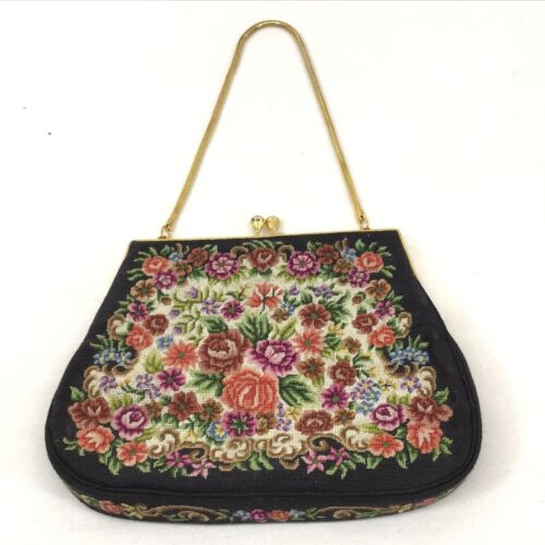 Vintage PETIT POINT Floral TAPESTRY Micro Embroidery PURSE Handbag