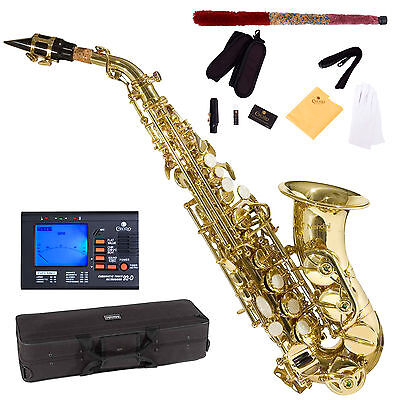 NEW GOLD Bb CURVED SOPRANO SAXOPHONE SAX PACKAGE +TUNER on Rummage