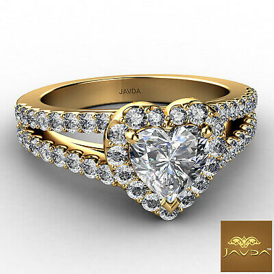 Halo Split Shank French Pave Heart Cut Diamond Engagement Ring GIA H VS2 1.25 Ct 5