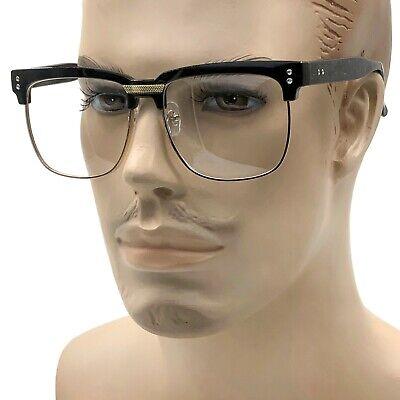 MENS LARGE Fashion Square Glasses Clear Lens Browline Half Frame Retro Nerd (Large Frame Glasses Men)