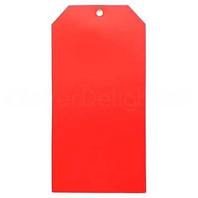 100 Red Plastic Tags - 6.25 X 3.125 - Tearproof - Inventory Id Price Tags