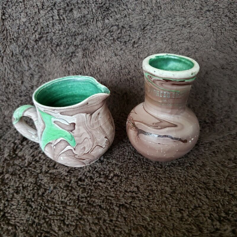 2 Miniature Garden of the Gods Pottery Colorado Vase & Pitcher