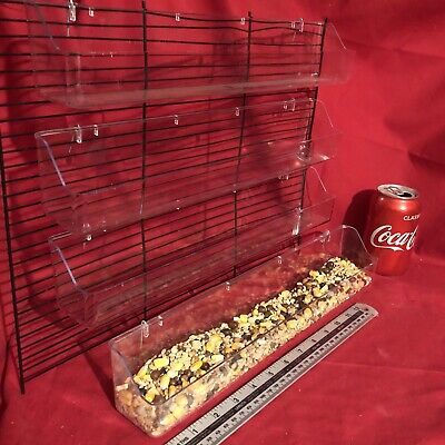 4 x Quail Poultry Feeder 39cm Clip On Water Food Bowl 2 Trough Hook Fowl Chicken