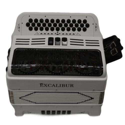 Excalibur 34 Key PSI LTD Edition Button Accordion White Satin