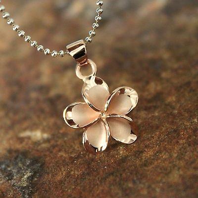 (15mm Pink Gold Plumeria Hawaiian Flower Silver Pendant Christmas Gift #SP66039)