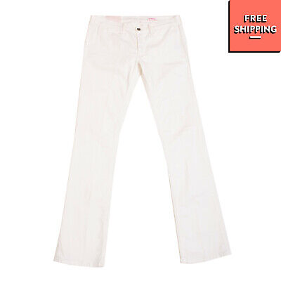 MAURO GRIFONI Denim Trousers Size 31 Stretch White Low Waist Made in Italy
