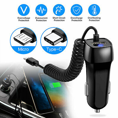 FAST Rapid Car Charger Type C Micro USB Charging For Android