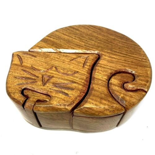 Vintage Stained Carved Wood Art Cat Kitty Secret Puzzle Trinket Box Made India