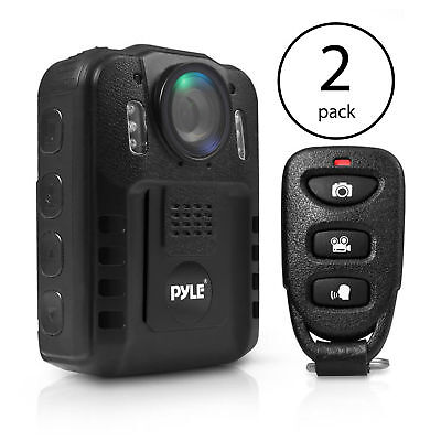 Pyle Compact Portable 1080p HD Infrared Night Vision Police Body Camera (2 -