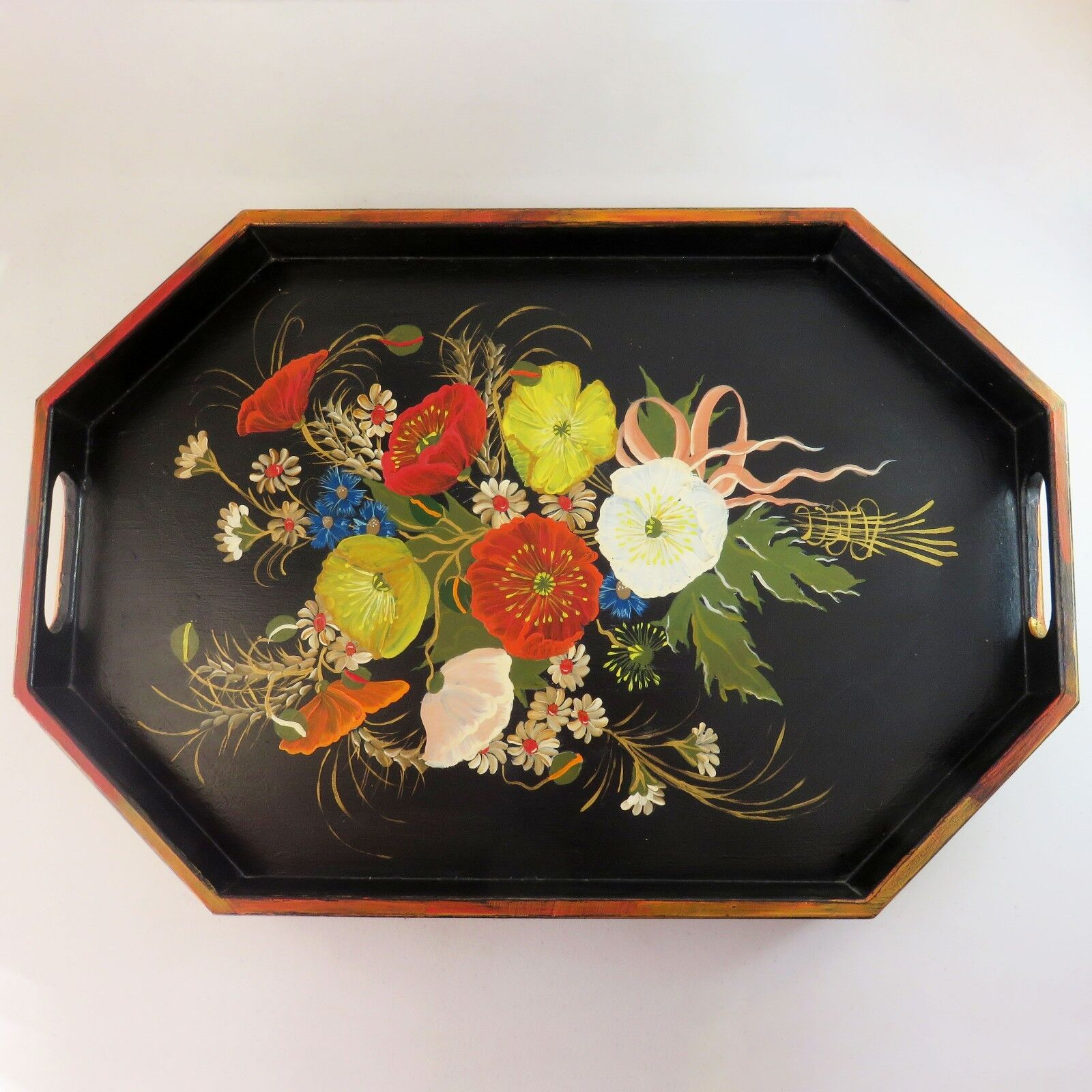 Vintage Wooden Handmade Painted Floral Art Breakfast Serving Tray With Handles