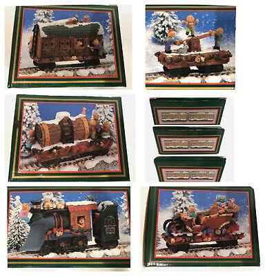 World Bazaar 1995 North Pole Express Train Lot Set Collectible Christmas 8 Piece