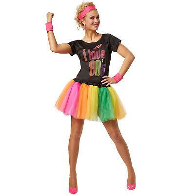 Frauenkostüm 80er Jahre 80s bunt neon Tutu Tüllrock Disco Schweißband (Tutu Kostüm Frauen)